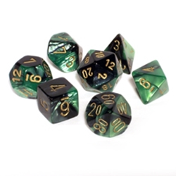 Picture of Dice Set Black-Green Faced/Gold Numbered Gemini Polyhedral 7-Dice Set