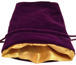 Picture of Purple Velvet Gold Lining Dice Bag