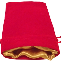 Picture of Red Velvet Gold Lining Dice Bag