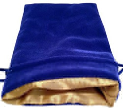 "Picture of Blue Velvet Gold Satin Lining 5"" x 7"" Bag"
