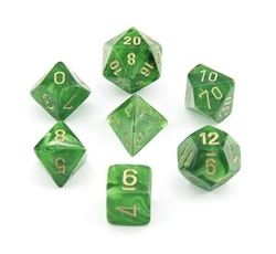 Picture of Dice Set Green Faced/Gold Numbered Vortex Dice