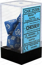 Picture of Dice Set Water Faced/White Numbered Speckled Dice