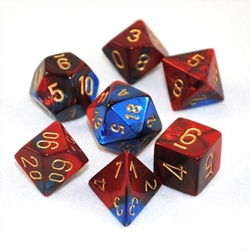 Picture of Dice Set Blue and Red Faced/Gold Numbered Gemini Dice