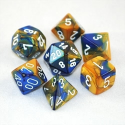 Picture of Dice Set Gemini Blue and Gold with White Numbers