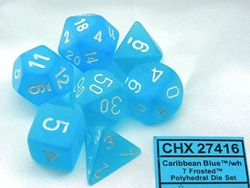 Picture of Dice Set Frosted Caribbean Blue with White Numbers