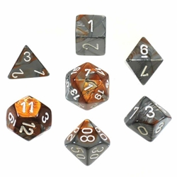 Picture of Dice Set Gemini Copper-Steel with White Numbers