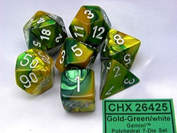 Picture of Dice Set Gemini Gold-Green with White Numbers