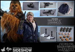 Picture of Star Wars Han Solo and Chewbacca The Force Awakens Hot Toys 1:6 Scale Figure Set