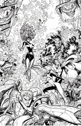 Picture of X-Men Blue #13 Arthur Adams Black and White Connecting Variant Cover