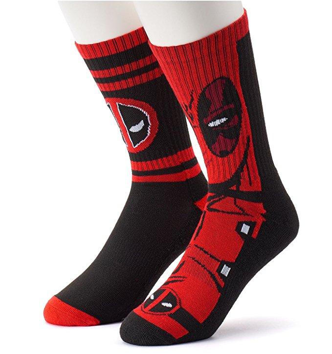 Bedrock City Comic Company Deadpool Athletic Mens Crew Socks 2 Pack