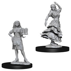 Picture of Dungeons and Dragons Nolzur's Marvellous Bartender and Dancing Girl Unpainted Miniatures