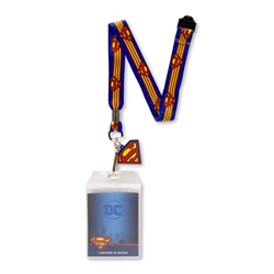 Picture of Superman Wrap Around Logo Lanyard with Badge & Charm