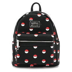 Picture of Loungefly x Pokémon Pokéball Black Mini Faux Leather Backpack