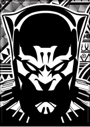 Picture of Black Panther Black and White Graphic Magnet