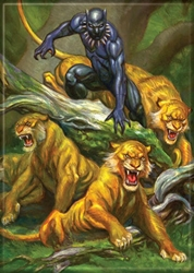 Picture of Black Panther with Cats Magnet