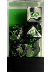 Picture of Dice Set Gemini Black and Grey with Green Numbers