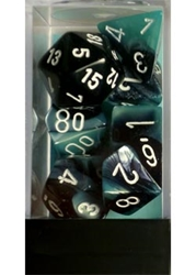 Picture of Dice Set Black and Shell Faced/White Numbered Gemini Polyhedral 7-Dice Set