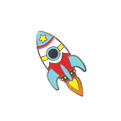 Picture of LuxCups Retro Rocket Bright Cloisonne Pin
