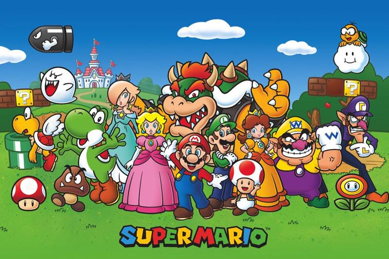 Bedrock City Comic Company Super Mario Bros Characters 24 X 36