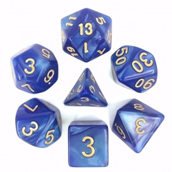 Picture of Blue Pearl Dice Set w/ Gold Numbers