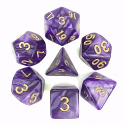 Picture of Purple Pearl Dice Set w/ Gold Numbers
