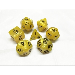 Picture of Yellow Pearl Dice Set w/ Black Numbers