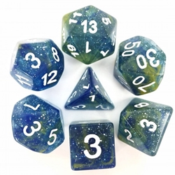 Picture of Blue/Yellow Galaxy Dice Set