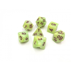 Picture of Green and Yellow and White Marble Dice Set