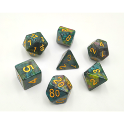 Picture of Blue & Yellow & Rose Marble Dice Set