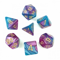 Picture of Bright Blue and Purple Blend Dice Set