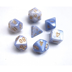 Picture of White and Light Blue Blend Dice Set
