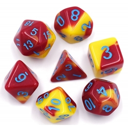 Picture of Red and Yellow Blue Text Blend Dice Set