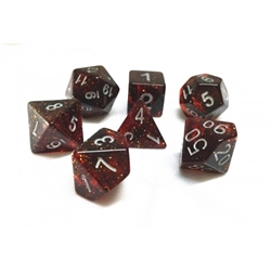 Picture of Black and Red Glitter Dice Set