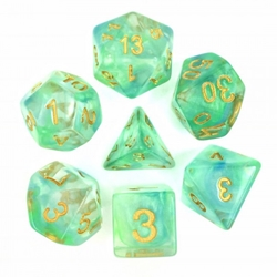 Picture of Green and Blue Pearl Swirl Transparent Dice Set