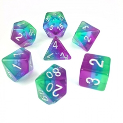 Picture of Blue Aurora Transparent Layered Dice Set