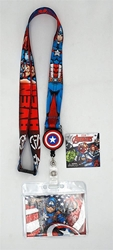 Picture of Captain America Lanyard with Zip Card Holder
