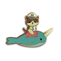 Picture of Admiral Whiskers Narwhal Ride Enamel Pin