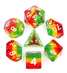 Picture of Green, Yellow, and Red Transparent Layered Dice Set