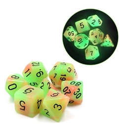Picture of Orange and Green Glow in the Dark Dice Set