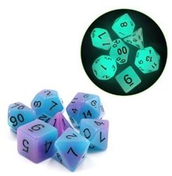 Picture of Blue and Purple Glow in the Dark Dice Set