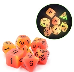 Picture of Orange and Yellow Glow in the Dark Dice Set