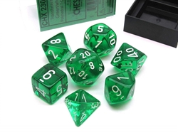 Picture of Dice Set Translucent Green/White Revised