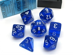 Picture of Dice Set Translucent Blue/White Revised