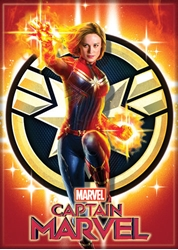 Picture of Captain Marvel and Logo Magnet