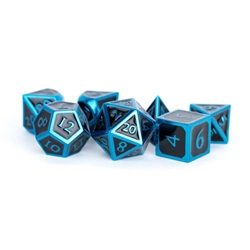 Picture of Metal Dice Set Blue with Black Enamel