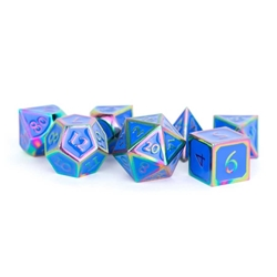 Picture of Metal Dice Set Rainbow with Blue Enamel