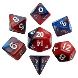 Picture of Mini Dice Set Red/Blue with White