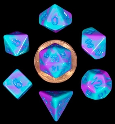 Picture of Mini Dice Set Purple/Teal with Blue