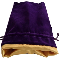 Picture of Purple Velvet Gold Lining Large Dice Bag