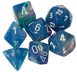 Picture of Dice Menagerie 10 Festive Waterlily/White 7-Die Set